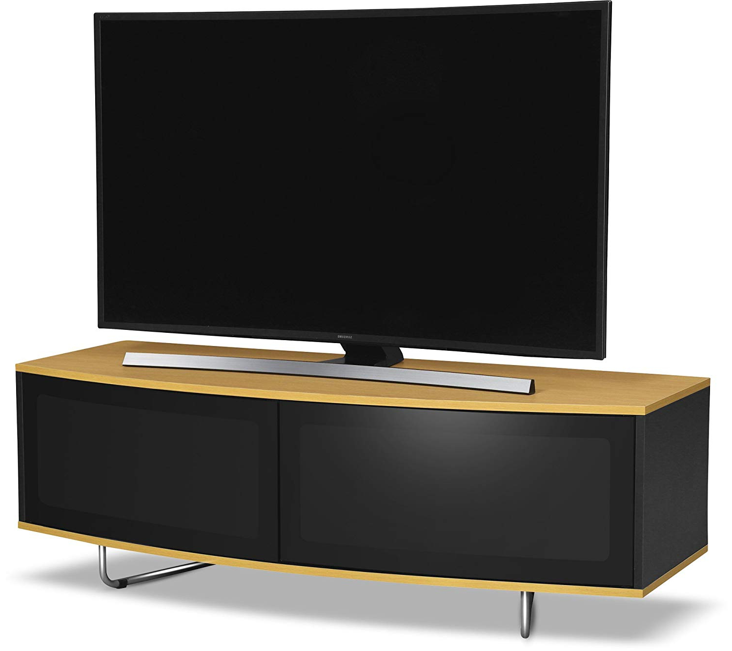 Favorite Wooden Tv Cabinets With Glass Doors With Regard To Centurion Supports Caru Gloss Black And Gloss Oak: Amazon.co (View 17 of 20)