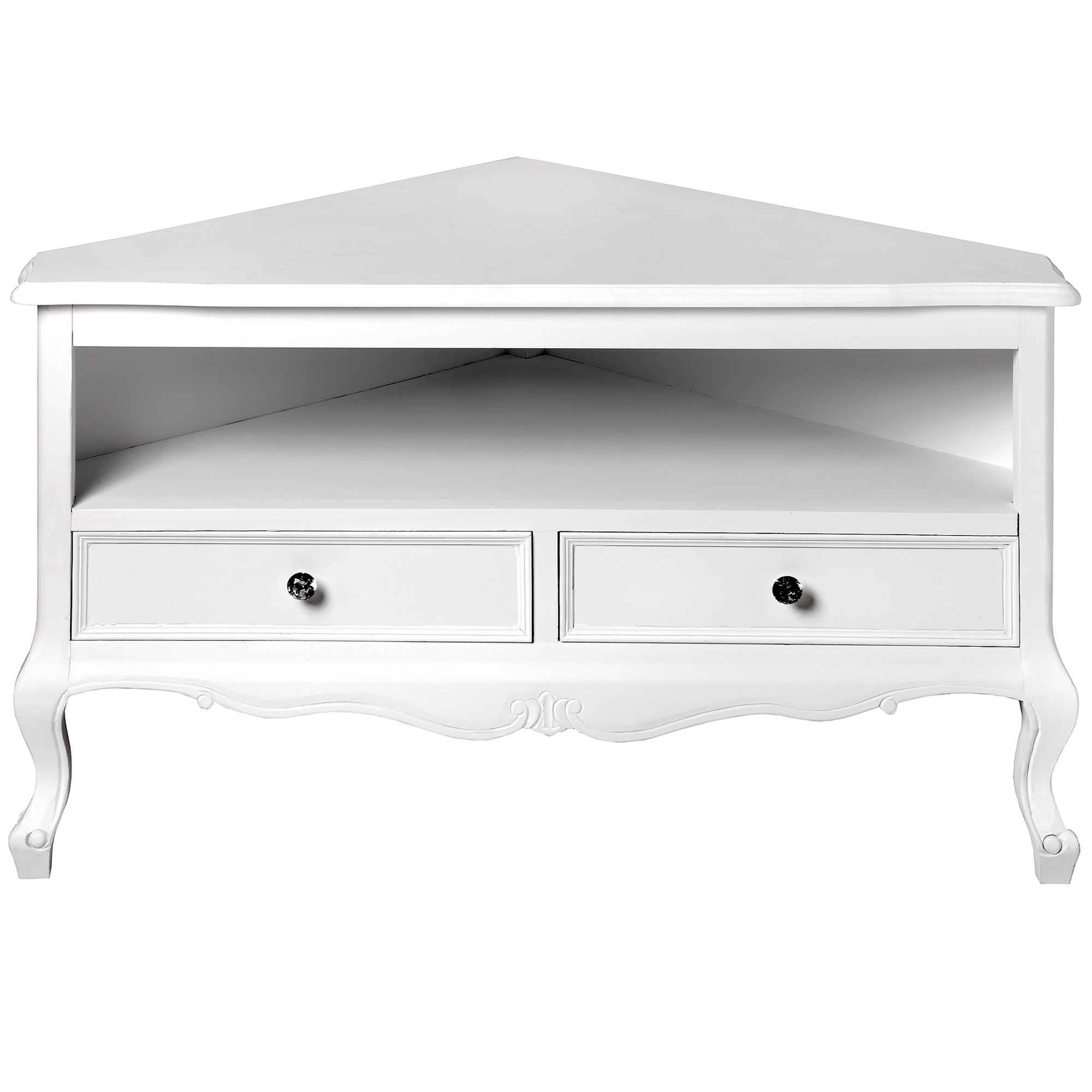 Fleur White Shabby Chic Corner Tv Unit (View 4 of 20)