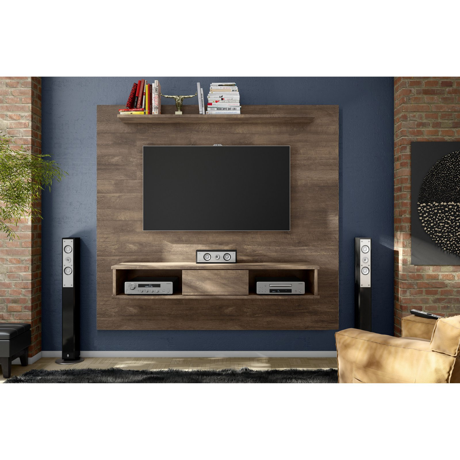 Floating Entertainment Center Rustic Wall Unit Mount Media 70 Inch In Most Popular Tv Stand Wall Units (Gallery 16 of 20)