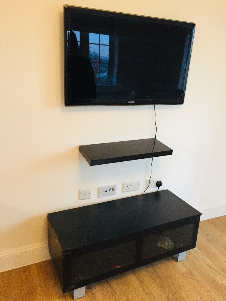 Floating Glass Tv Stands Pertaining To Trendy Black Glass Tv Stand/ Coffee Table/ Cabinet Unit – Comes With (View 12 of 20)