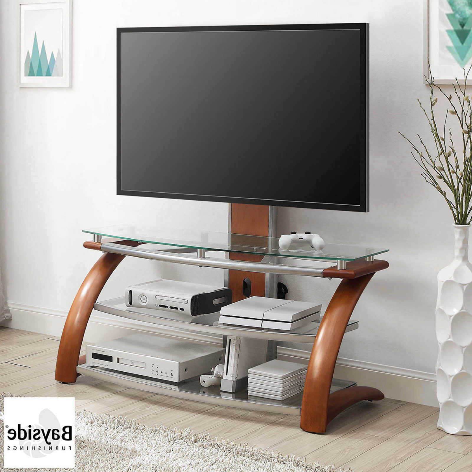 Floating Glass Tv Stands Regarding Popular Kross 3 Shelf Glass Tv Stand Floating With Mount 2 3 Shelf – Up To (Gallery 13 of 20)