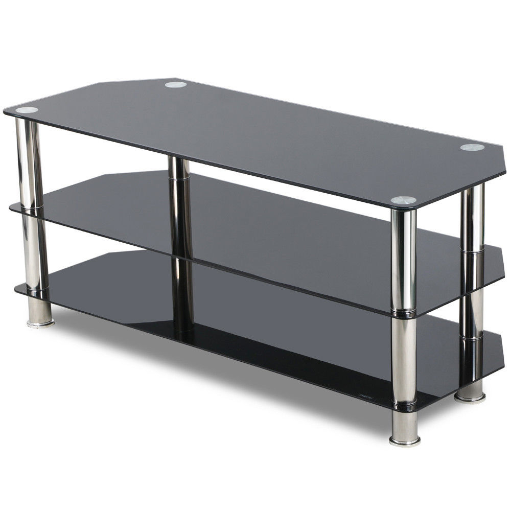 Floating Glass Tv Stands With Well Liked Black Glass Tv Stand Chrome Legs 3 Ter Storage Shelves Rustic (View 19 of 20)