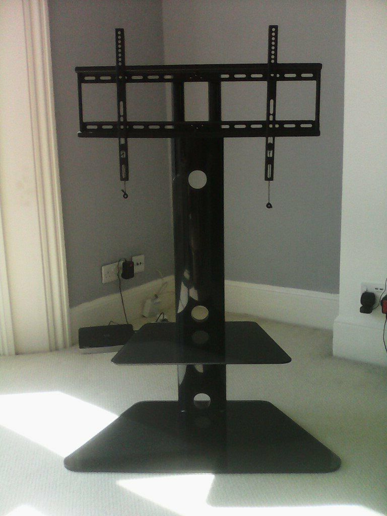 Floating Tv Stand With 2 Black Glass Shelves (View 9 of 20)