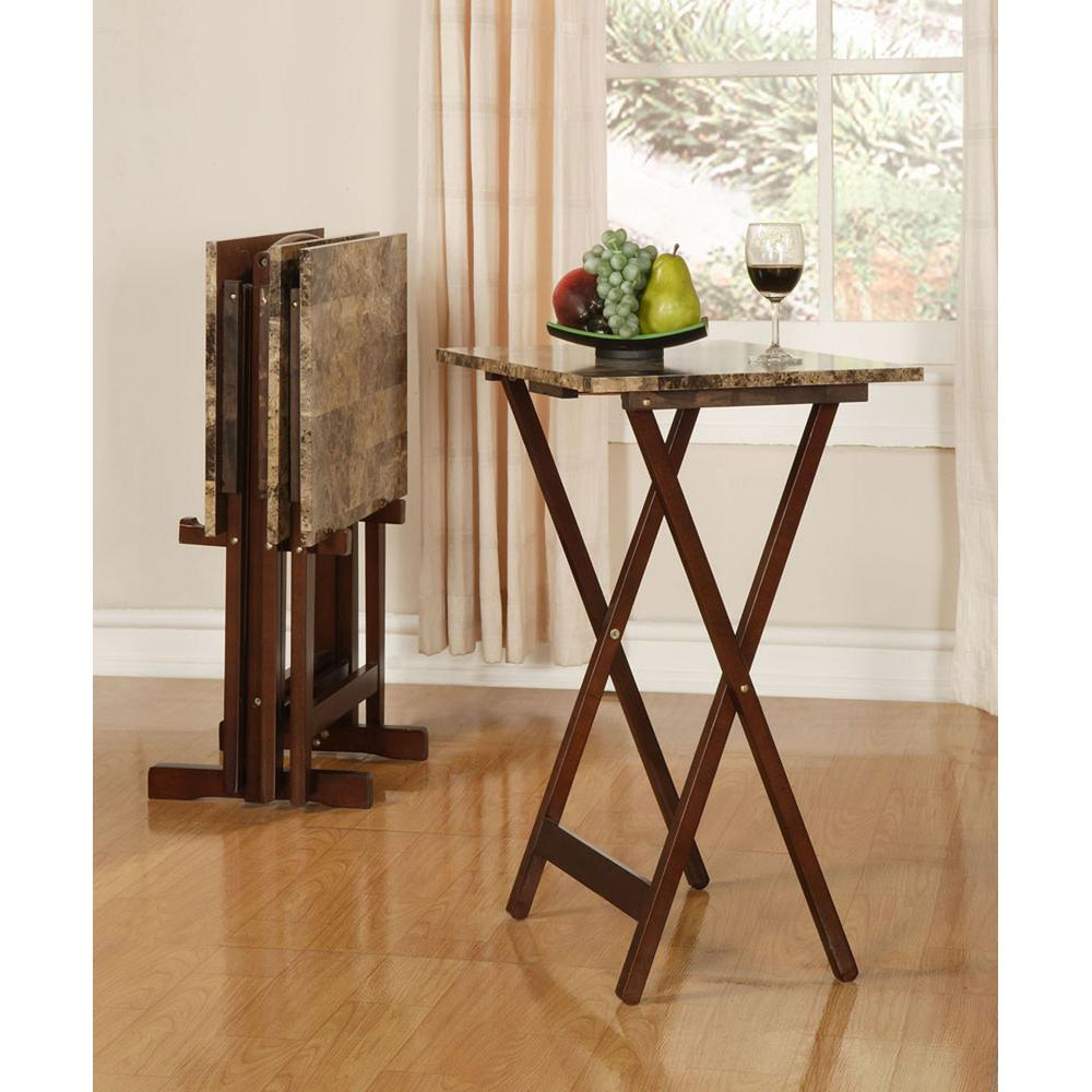 Folding Tv Trays With Stand Intended For Preferred Linon Home Decor Tray Table Set Faux Marble In Brown 43001tilset (View 2 of 20)