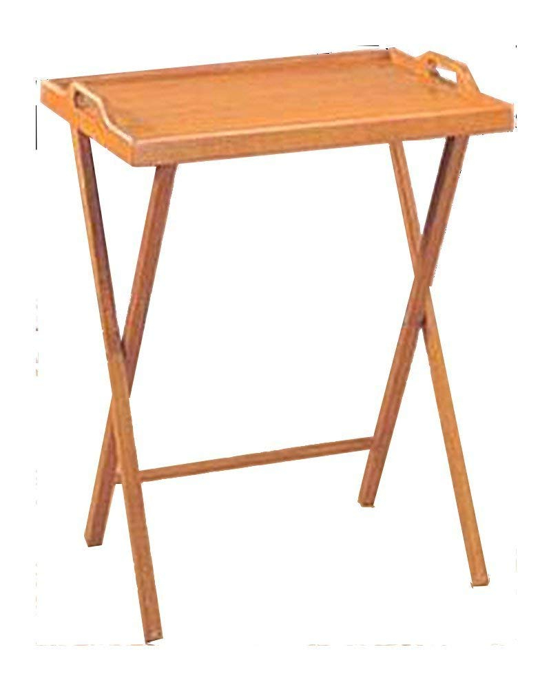 Folding Tv Trays With Stand Throughout Well Known Amazon: Essential Home Oak Finish Folding Tv Tray Table / Snack (View 9 of 20)