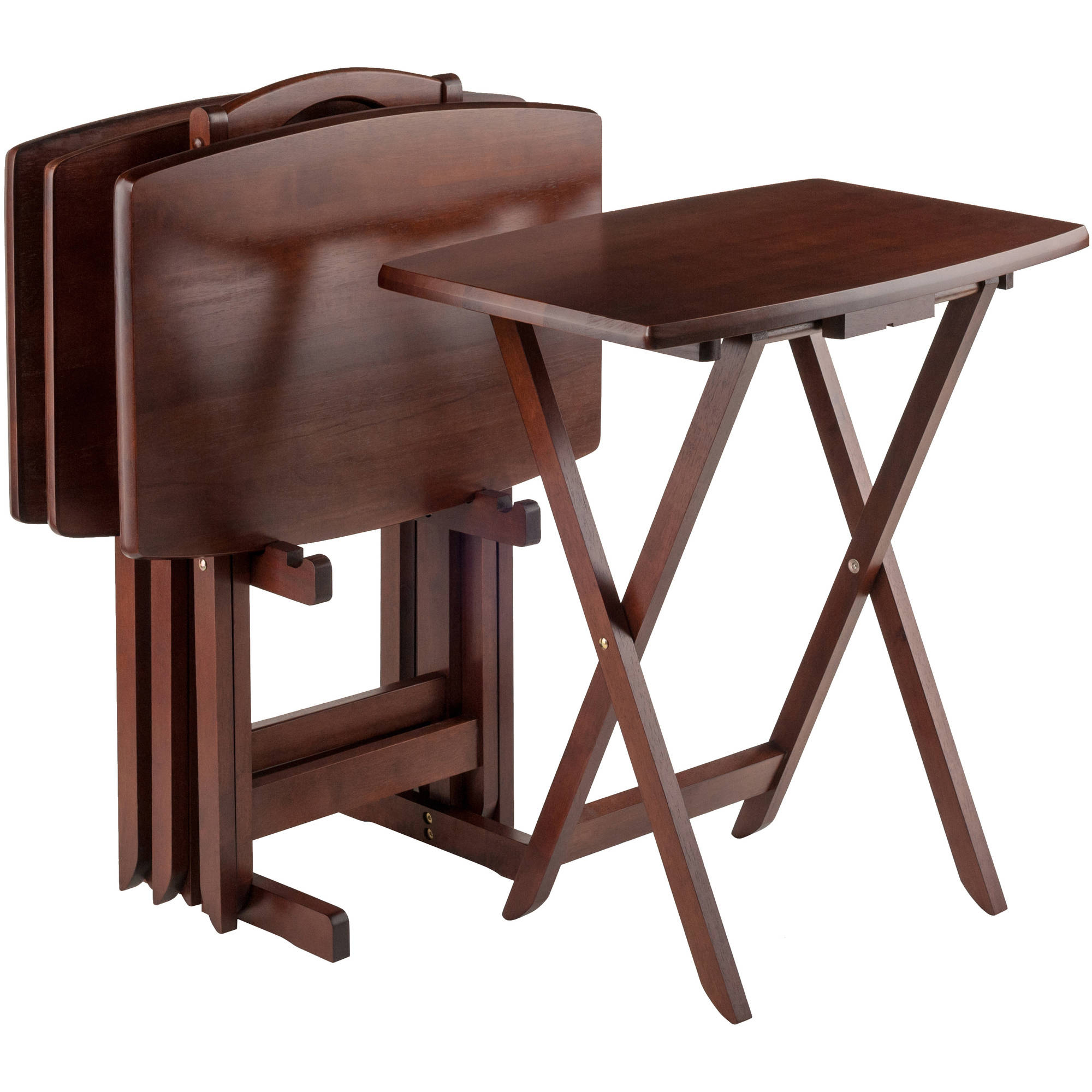 Folding Wooden Tv Tray Tables Inside 2017 Set Of 4 Portable Wood Tv Table Folding Tray Desk Serving Furniture (View 4 of 20)