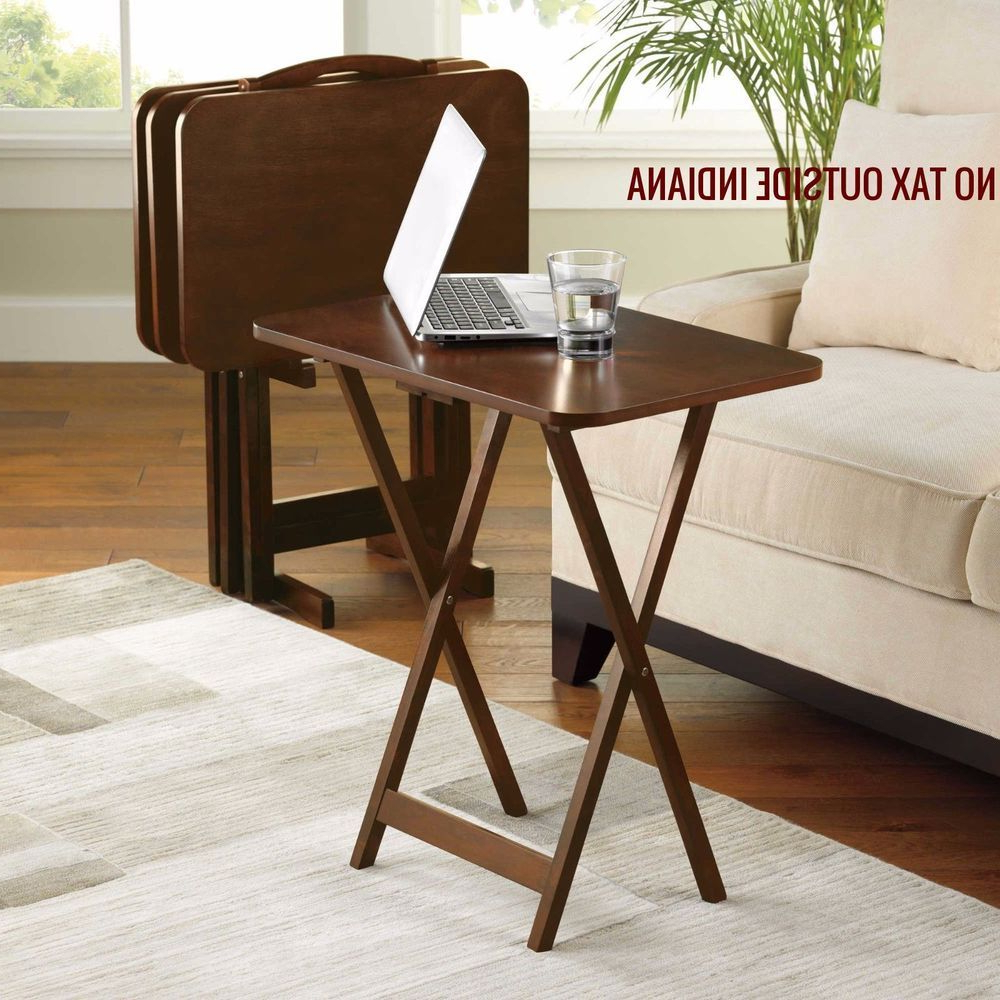 Folding Wooden Tv Tray Tables Pertaining To Current 5 Piece Tray Table Set Folding Wood Tv Game Snack Dinner Laptop (Gallery 19 of 20)