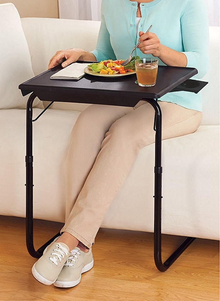 Folding Wooden Tv Tray Tables With Regard To Fashionable Portable & Foldable Comfortable Tv Tray Table W/cup Holder  Black (View 11 of 20)