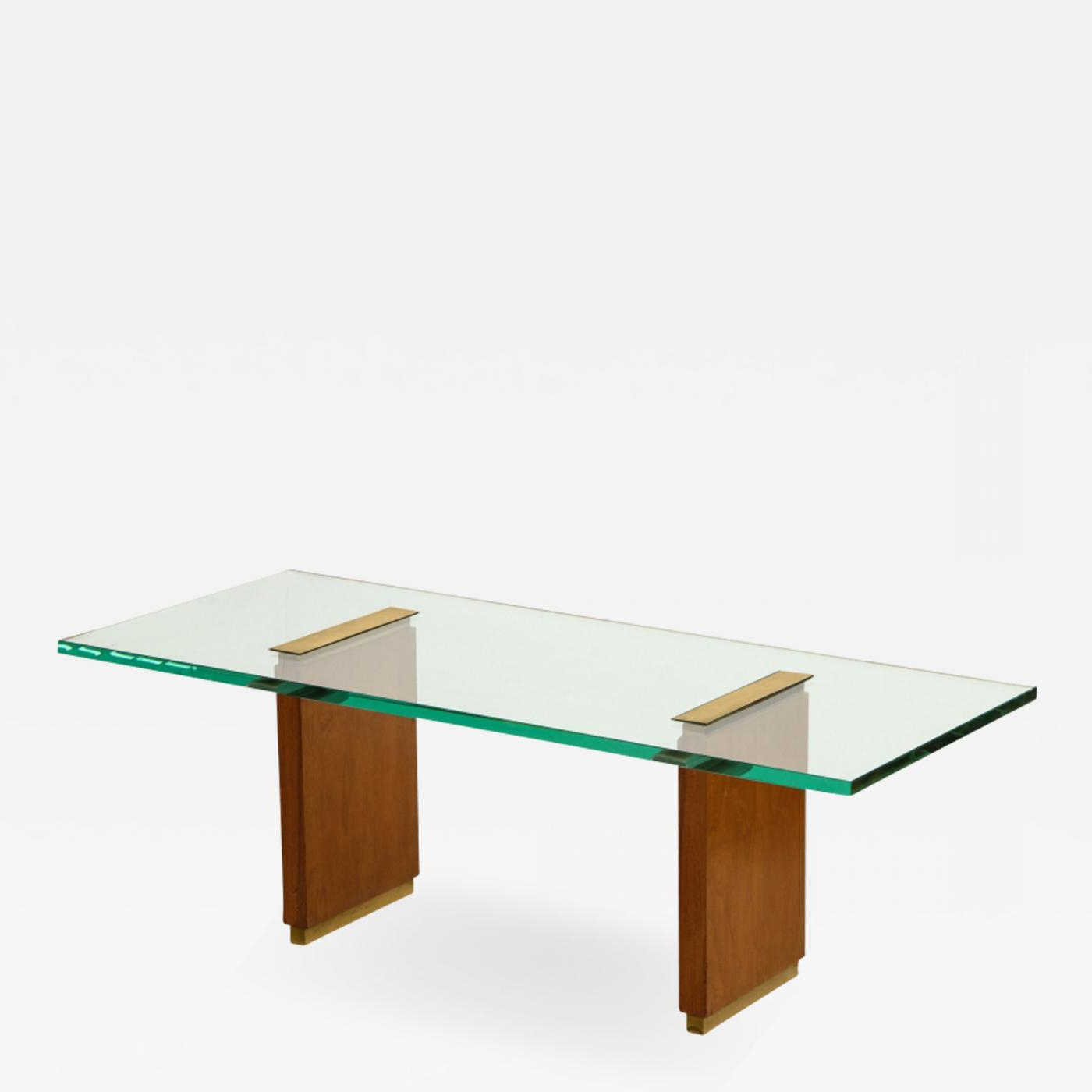 Fontana Arte – Glass Top Low Table With Oak Supports And Brass For Famous Oak & Brass Stacking Media Console Tables (View 5 of 20)