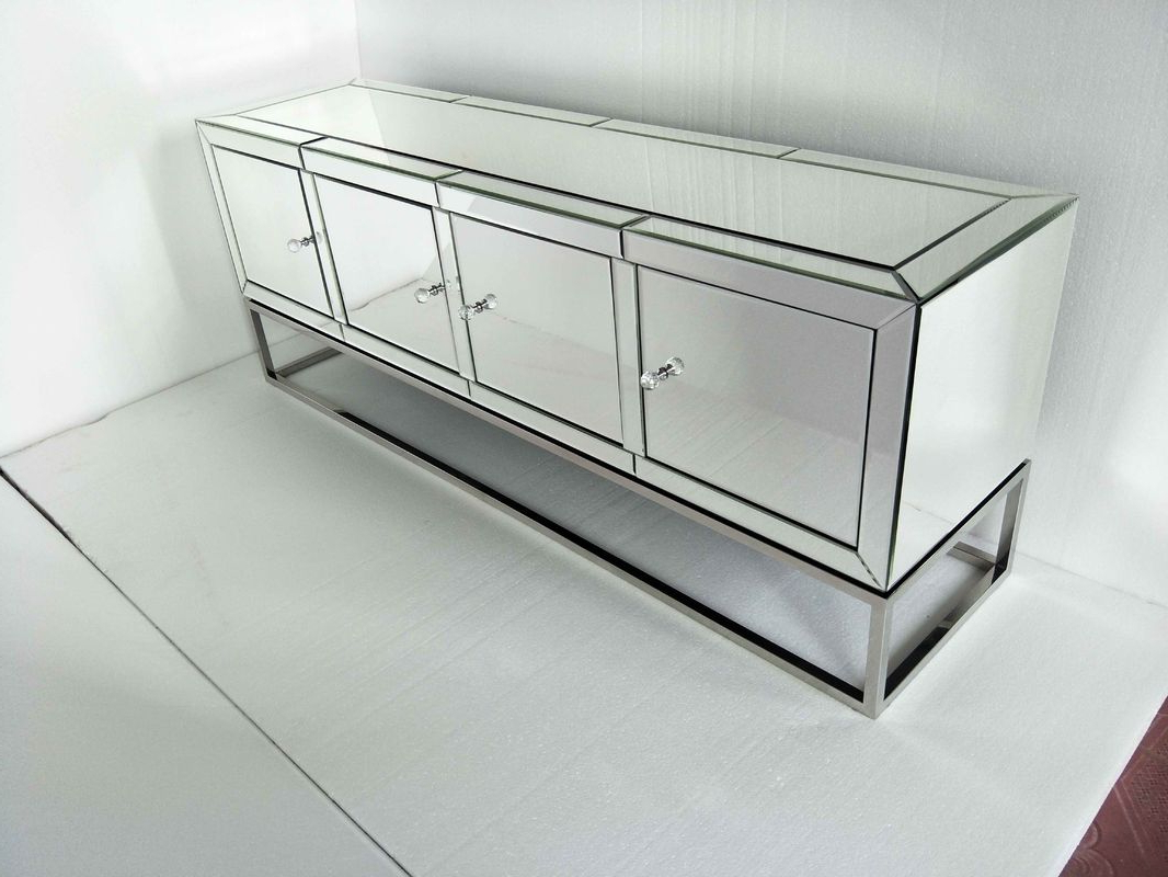 Four Doors Mirrored Tv Stand , Stainless Steel Mirrored Glass Tv Stand For Best And Newest Mirrored Tv Stands (View 6 of 20)