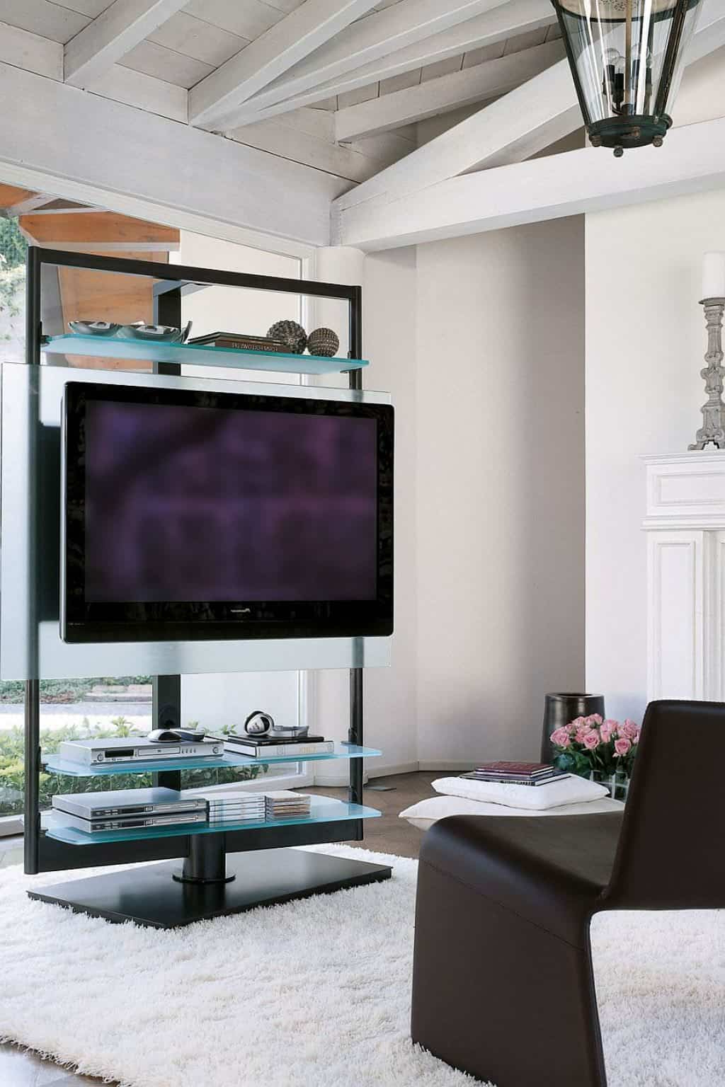 Freestanding Tv Stands Within Most Recent Amazing Freestanding Tv Stand And Glass Shelves – Useful And Stylish (View 5 of 20)