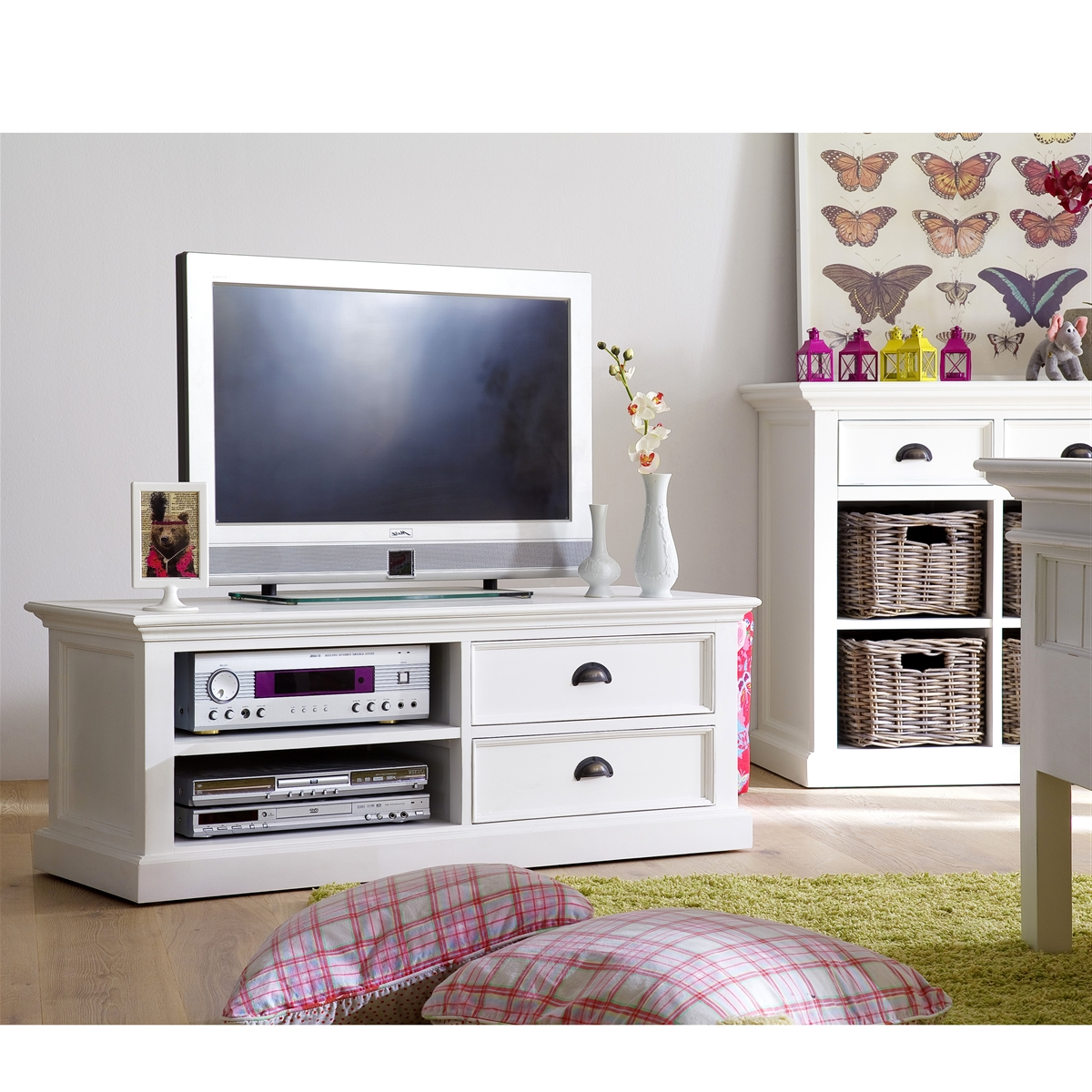 French Country Tv Stands Regarding Trendy Tv Stands: Inspiring White Distressed Tv Stand 2017 Design (View 7 of 20)
