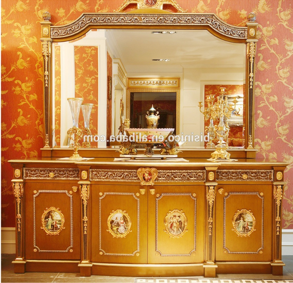 French Louis Xv Style Golden Wood Carving Tv Cabinet With Showcase Inside Trendy French Country Tv Cabinets (Gallery 17 of 20)