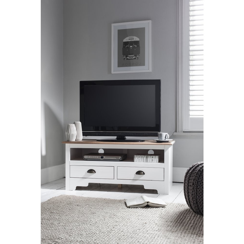 Funky Tv Cabinets Intended For Famous Canterbury Tv Unit In White & Dark Pine (View 9 of 20)