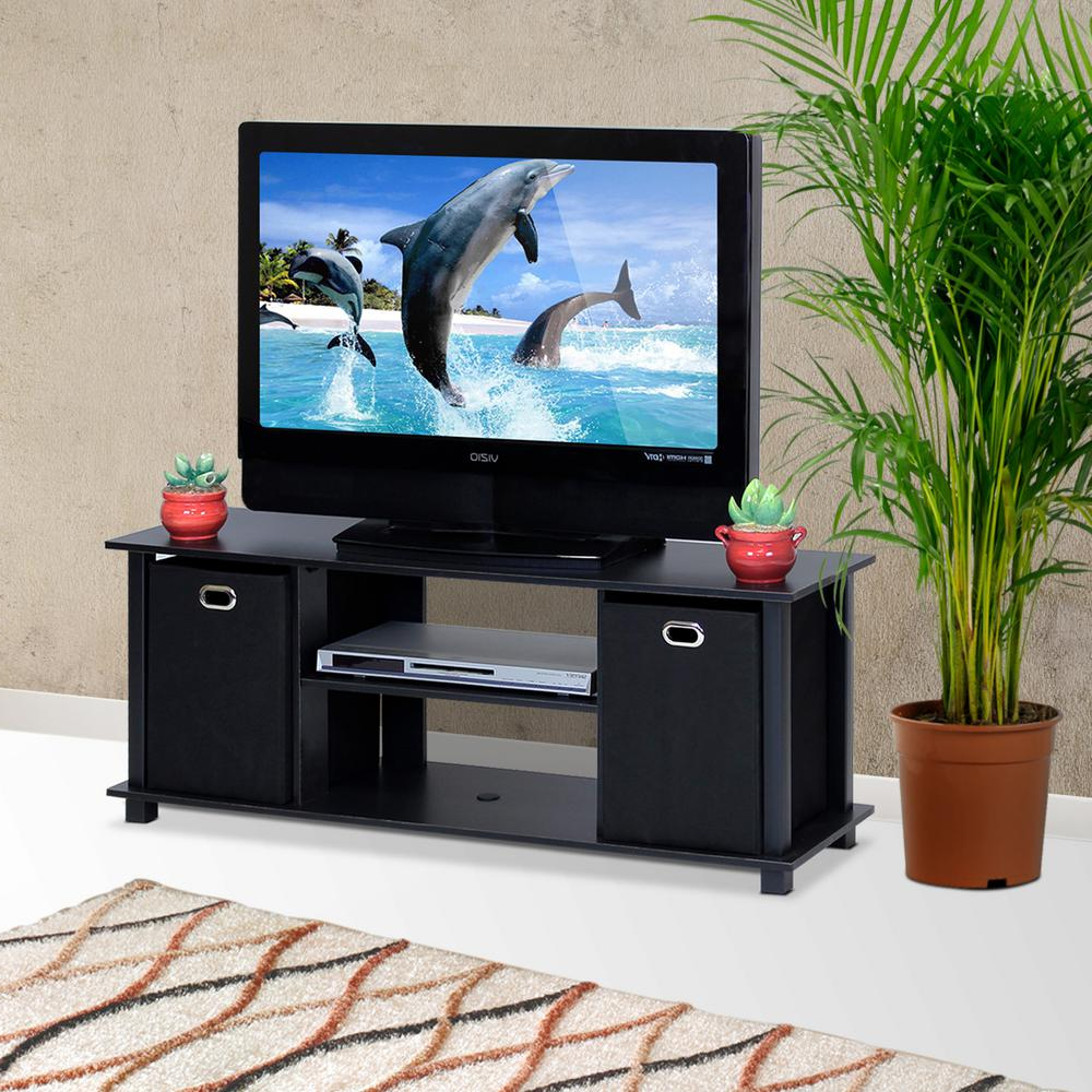 Furinno Econ Black Entertainment Center With Storage Bins 13054Bk/bk With Regard To Latest Tv Stands With Storage Baskets (View 5 of 20)