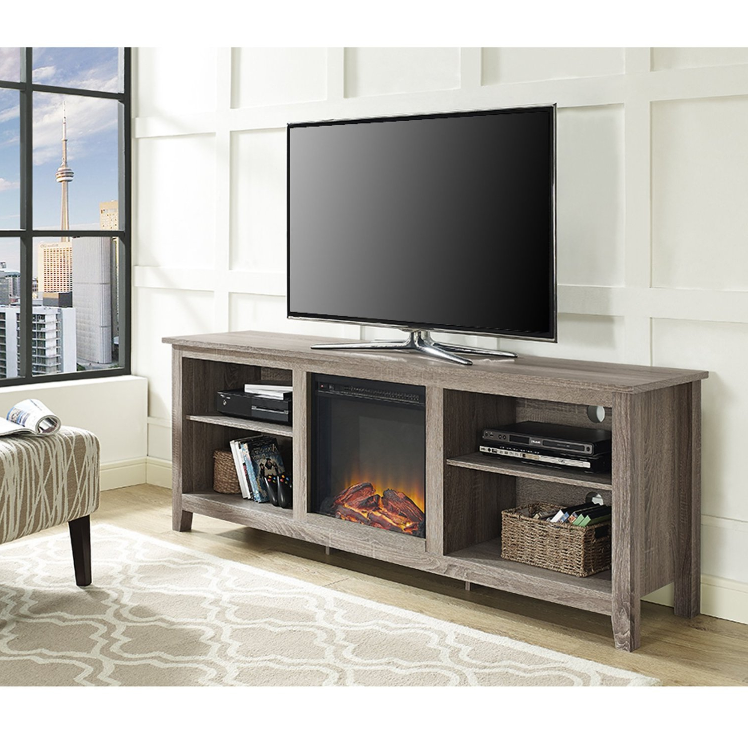 Furniture: Amazing Tv Stand With Fireplace For Your Flat Screen Tv Pertaining To Widely Used Tv Stands For 70 Flat Screen (Gallery 15 of 20)