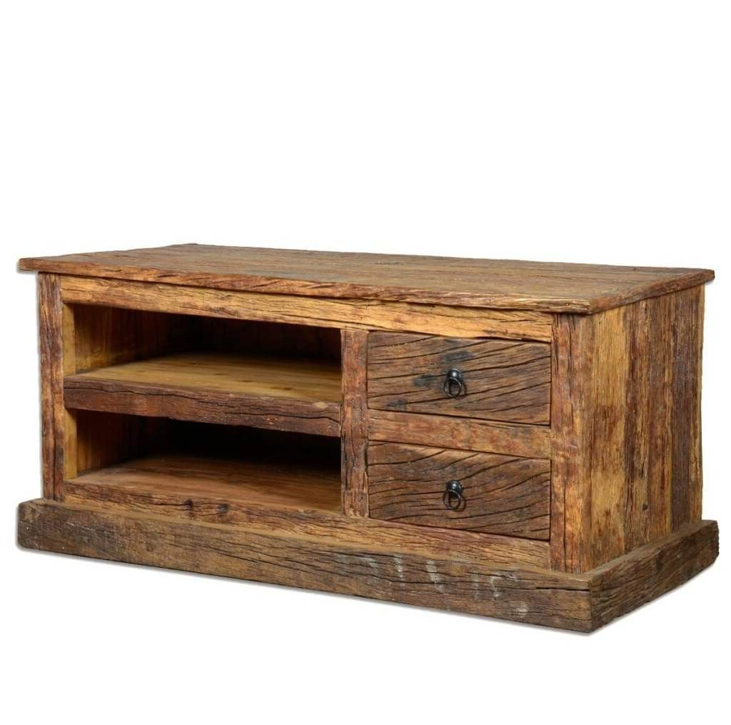 Furniture: Chunky Cheap Rustic Wooden Tv Stand Featuring 2 Graded In Popular Rustic Tv Stands For Sale (Gallery 9 of 20)