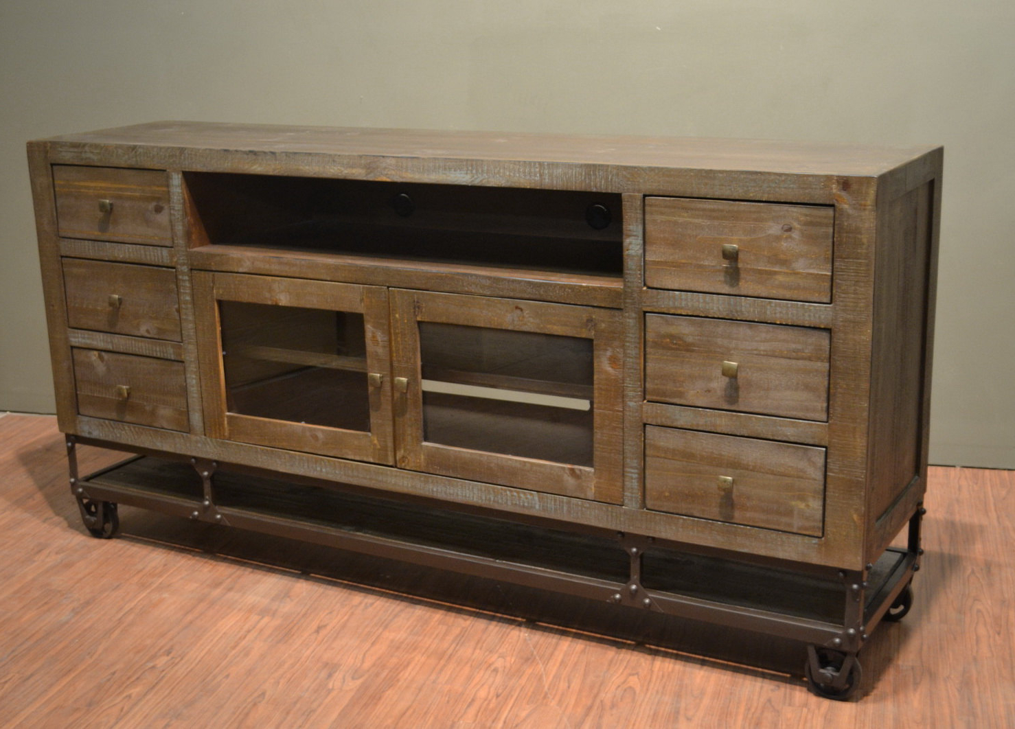 Furniture: Industrial Rustic Reclaimed Wood Tv Stand 76 Inch Tv With Regard To Well Liked Reclaimed Wood And Metal Tv Stands (View 3 of 20)