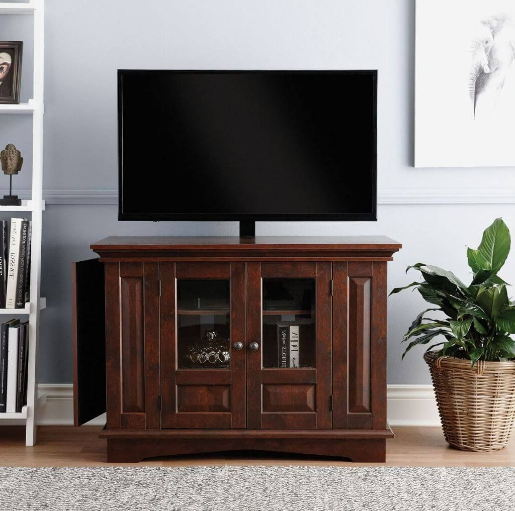 Furniture: Mesmerizing Wooden Tall Tv Stands For Flat Screens With Popular Glass Front Tv Stands (View 8 of 20)