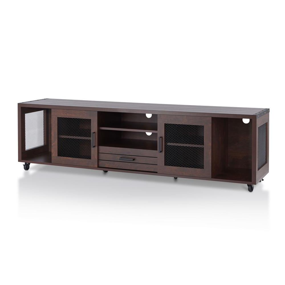 Furniture Of America Coopern Vintage Walnut Tv Stand Hfw 1697C6 Tv With Regard To Latest Walnut Tv Cabinets With Doors (View 7 of 20)