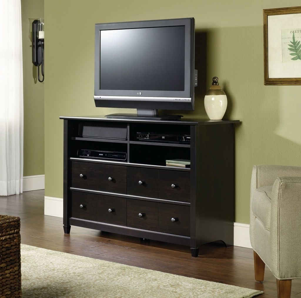 Furniture: Shining Tall Tv Stand With Two Cabinets And Rattan Basket In Preferred Tall Skinny Tv Stands (View 16 of 20)
