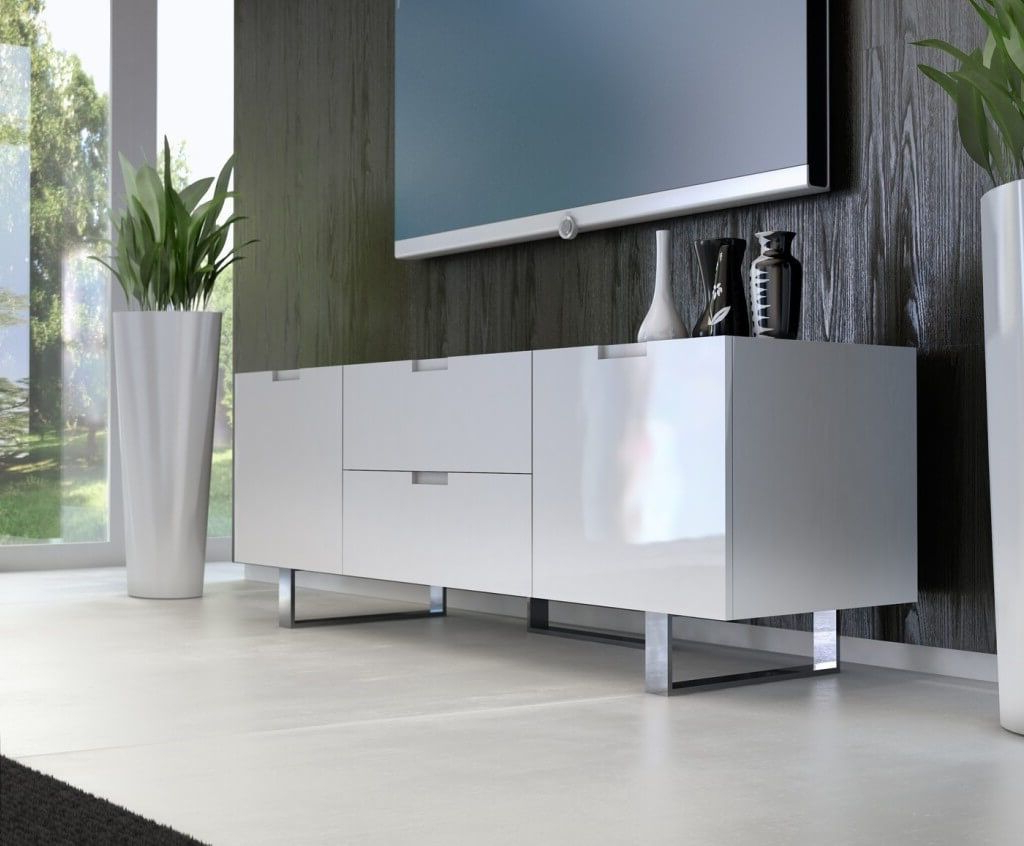 Furniture: Sleek All White Glossy Finish Modern Tv Stand With 2 Pertaining To Most Recently Released Glossy White Tv Stands (View 3 of 20)
