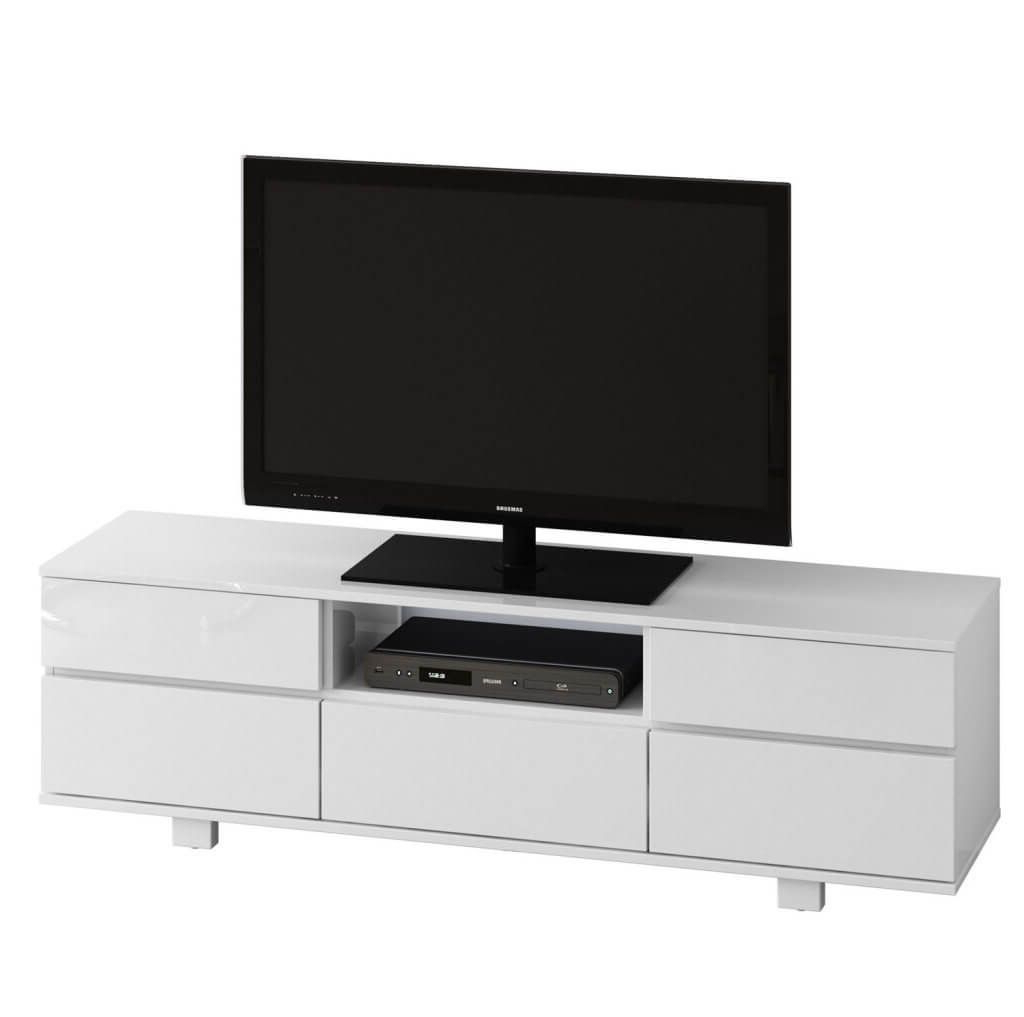 Furniture: Sleek All White Tv Stand Featuring 5 Knobless Door Throughout Latest Sleek Tv Stands (Gallery 19 of 20)