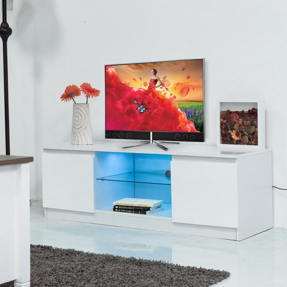 Giantex Led Tv Stand Unit Cabinet Media Console Furniture Modern In Best And Newest Led Tv Cabinets (View 10 of 20)