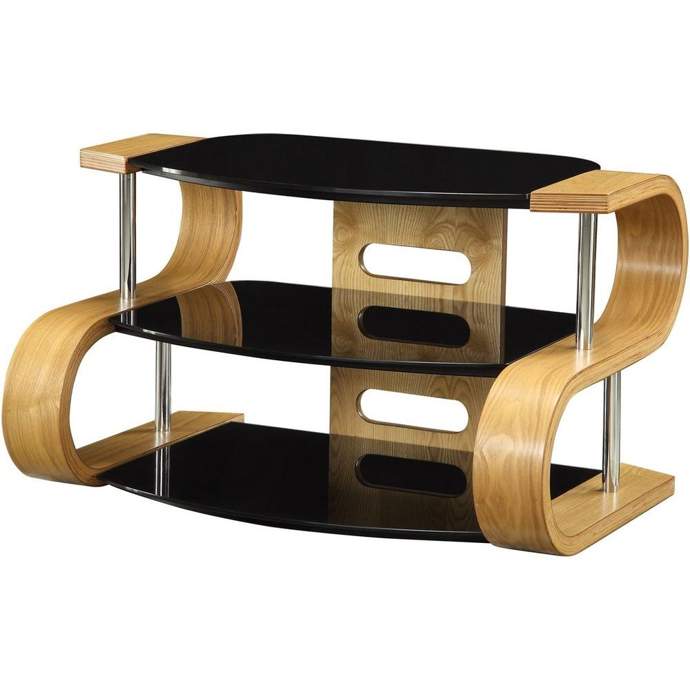 Glass And Oak Tv Stands Intended For Well Known Light Oak Wooden Tv Stand 3 Tier Black Glass Shelves (View 3 of 20)