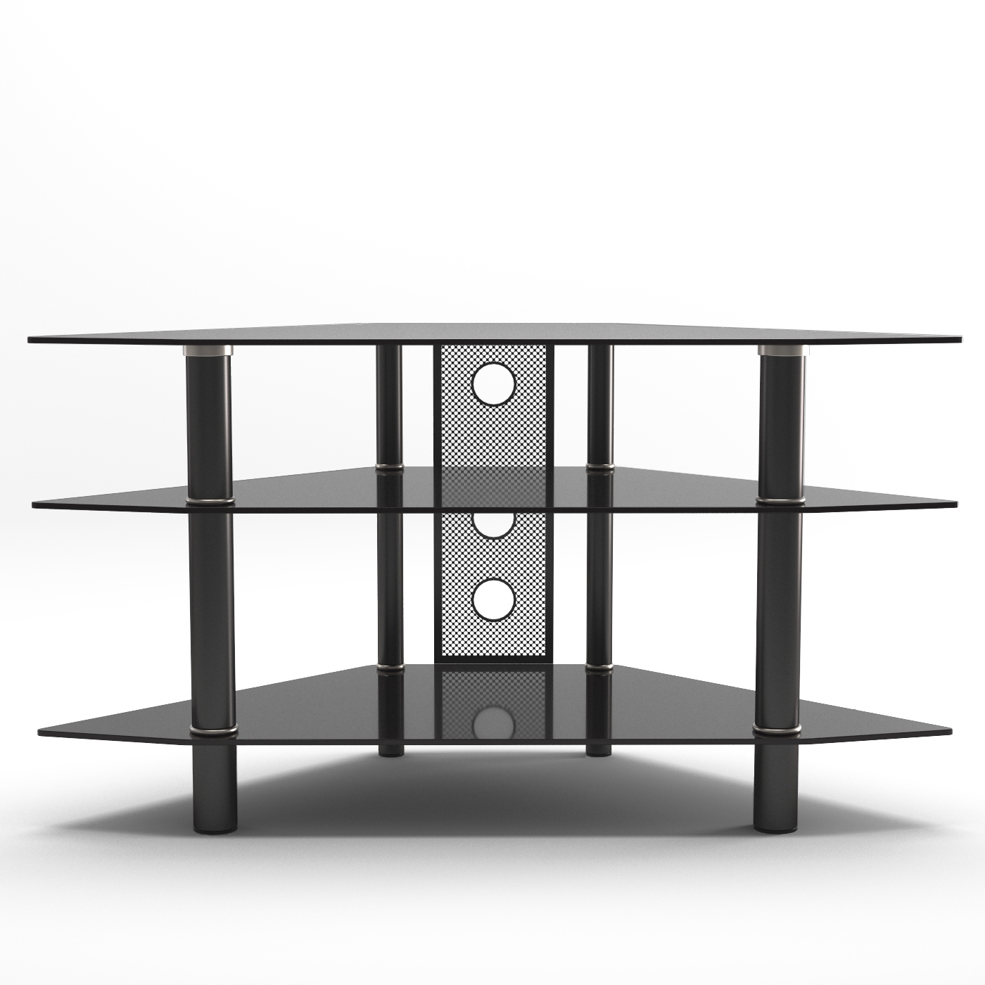 Glass Front Tv Stands For Latest Ruby 44 Inch Corner Glass Tv Stand In Black (Gallery 13 of 20)