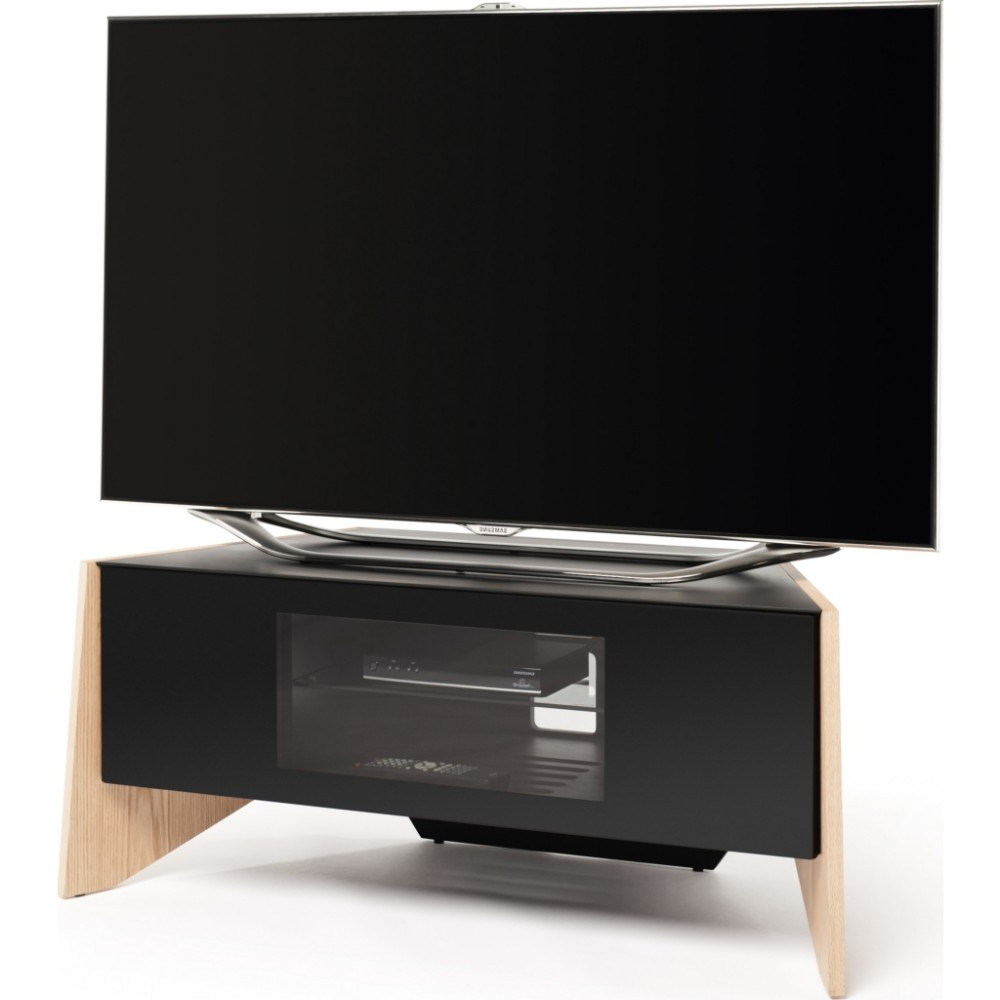 Glass Front Tv Stands Inside Latest Handle Less Drop Down Door; Screens Up To (View 3 of 20)