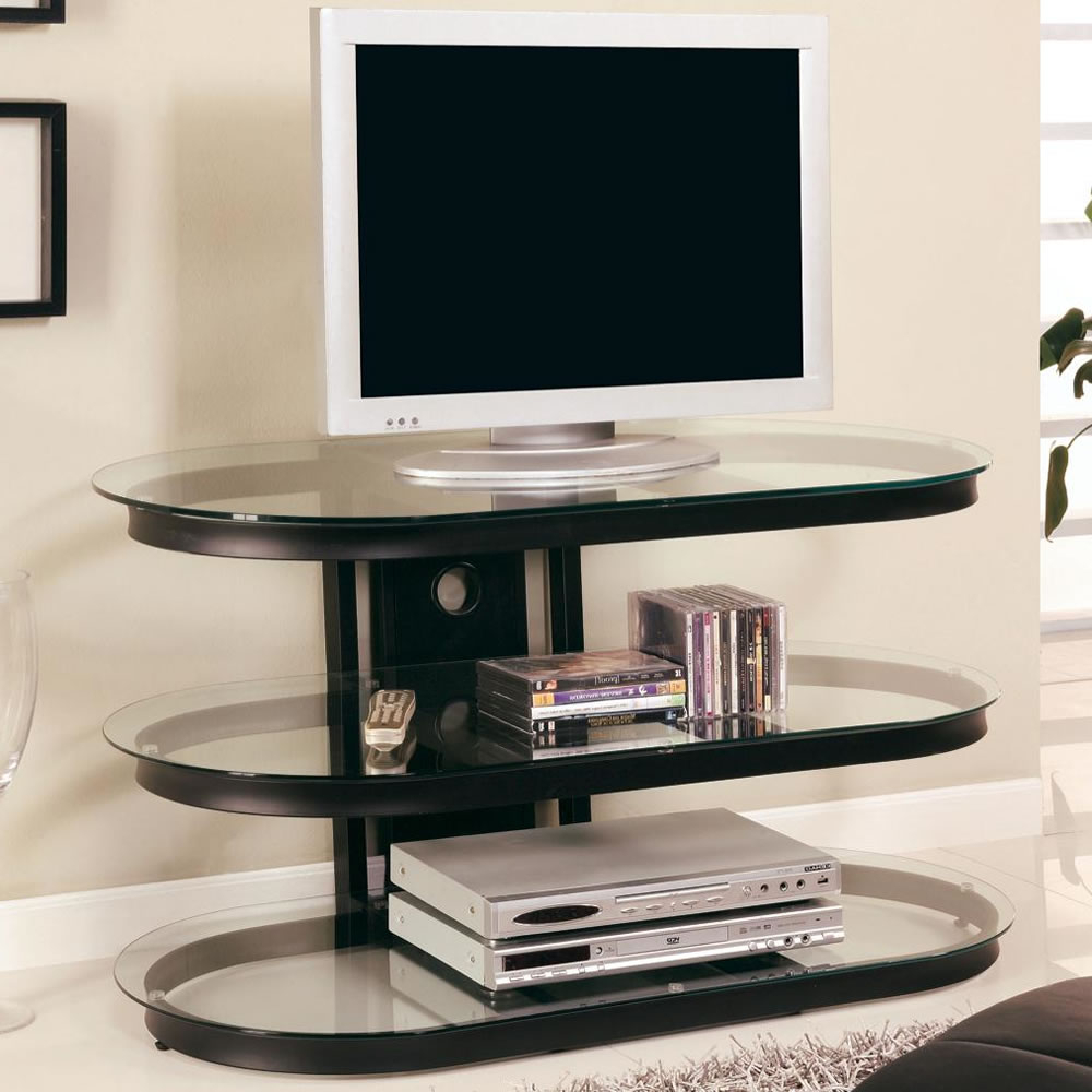 Glass Shelf Tv Stand Floating 4 Black Kross 3 Promounts Stand/mount With Fashionable Floating Glass Tv Stands (View 8 of 20)