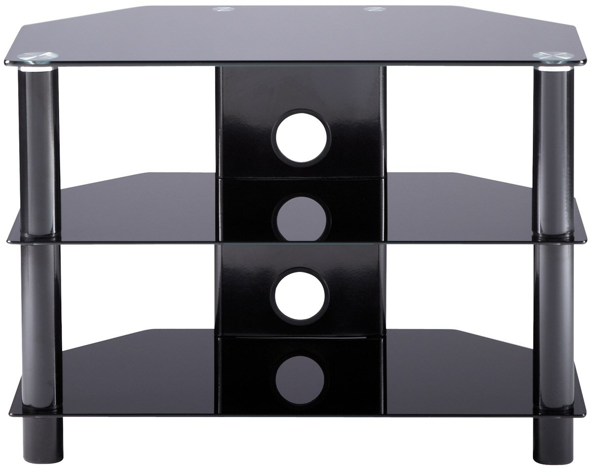 Glass Tv Cabinets Regarding Well Liked Alphason Essentials – 3 Shelf Black Tv Stand For Small: Amazon.co (View 9 of 20)