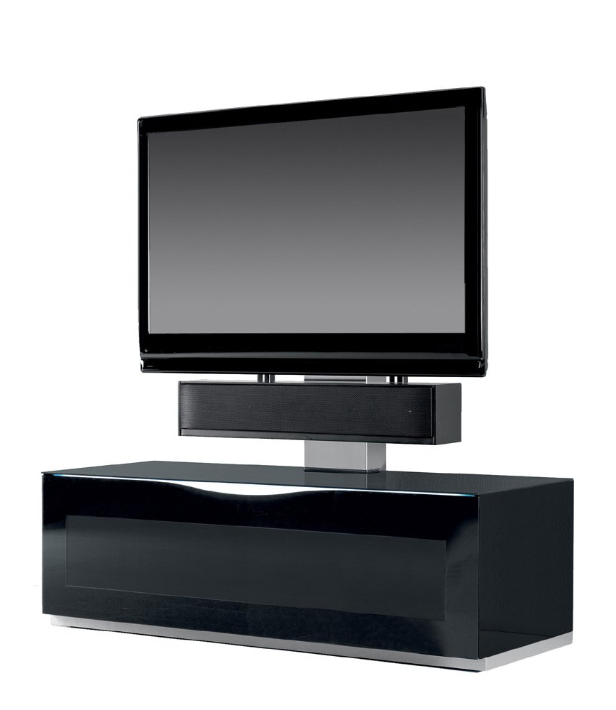 Glass Tv Cabinets Within Most Up To Date Triskom Comp 9D Black Glass Tv Stand With Mount For Lcd, Led Or (Gallery 11 of 20)
