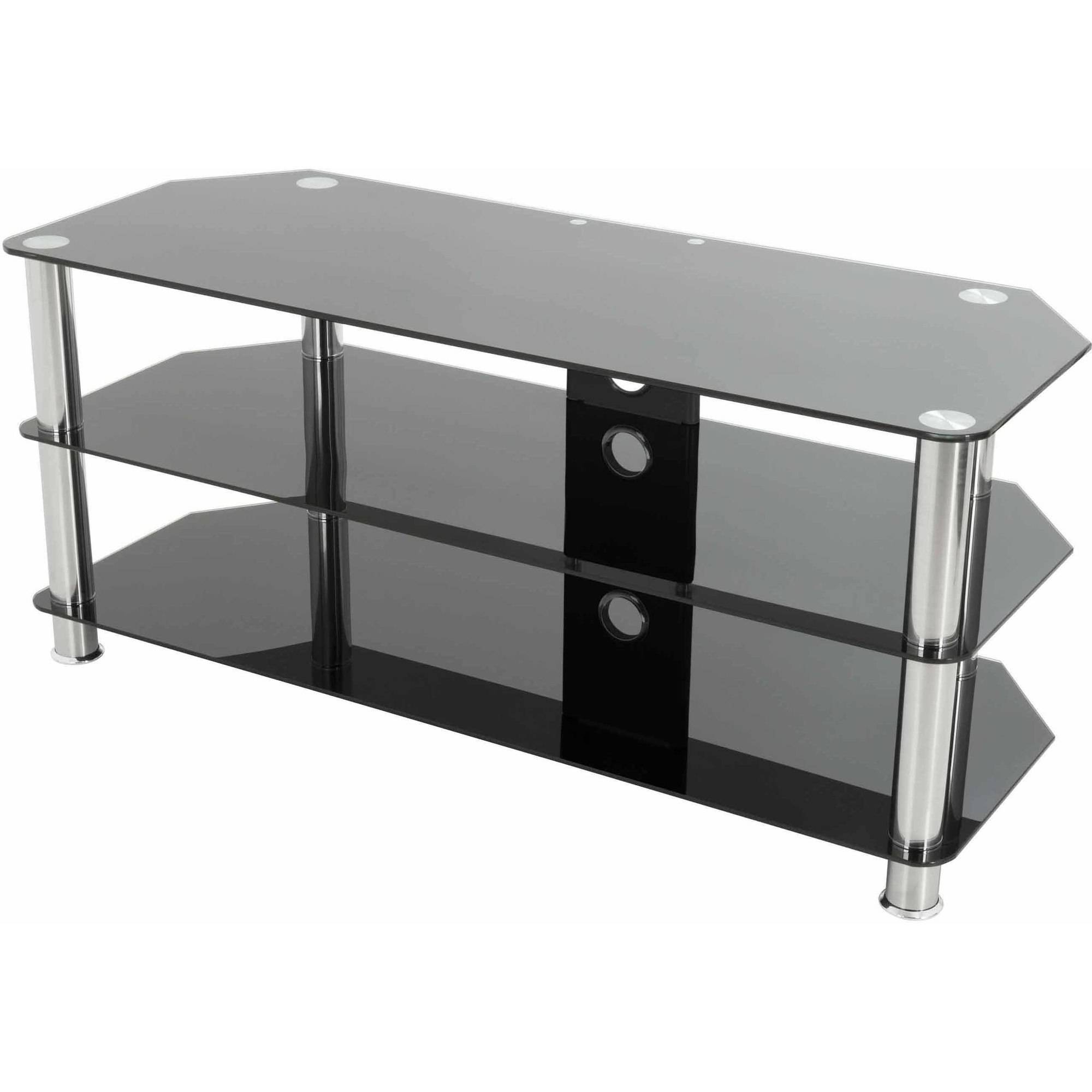 Glass Tv Stands Inside Well Known Avf Classic Corner Glass Tv Stand With Cable Management For Up To  (View 10 of 20)