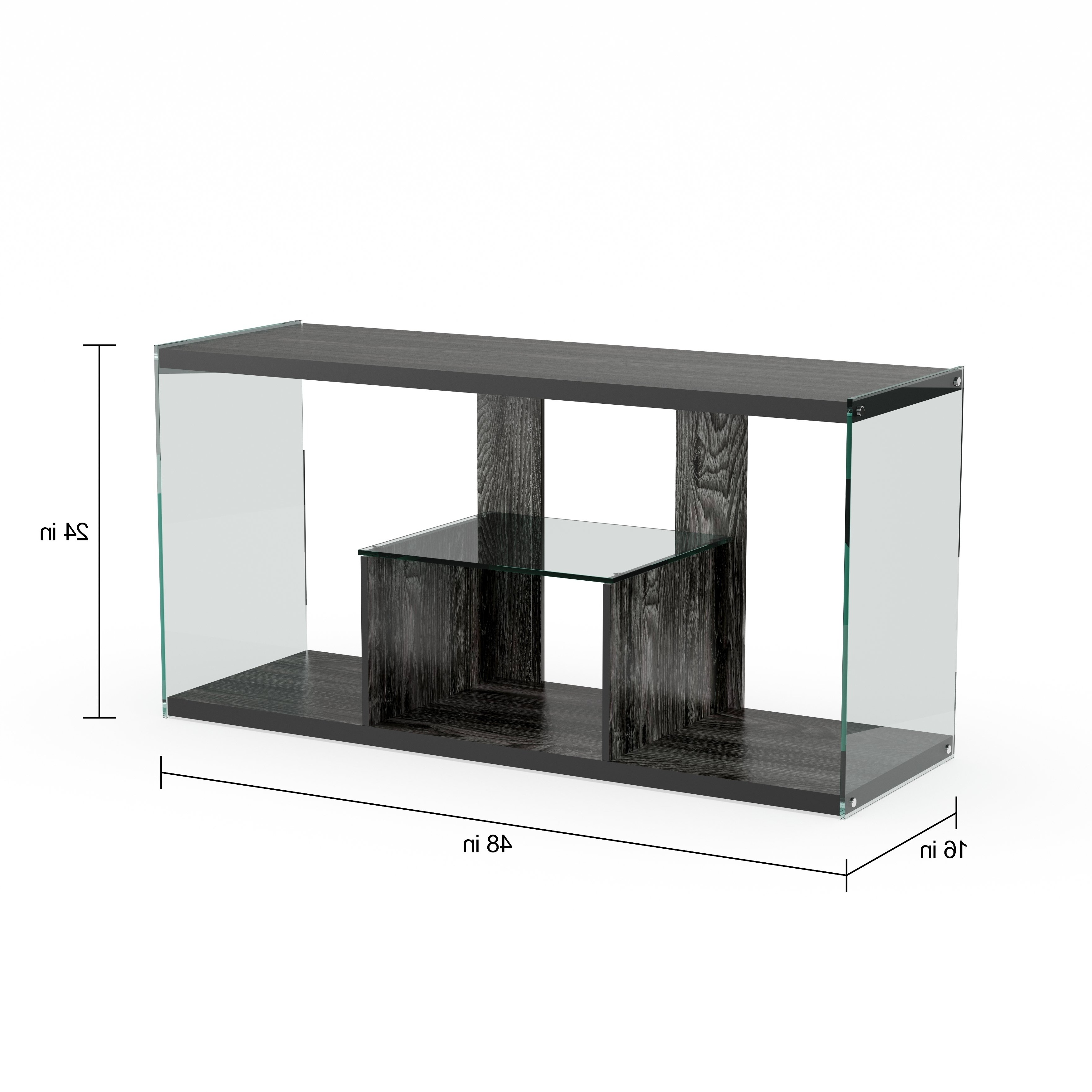 Glass Tv Stands Regarding Best And Newest Shop Porch & Den Urqhuart Wood/ Glass Tv Stand – Free Shipping Today (View 11 of 20)