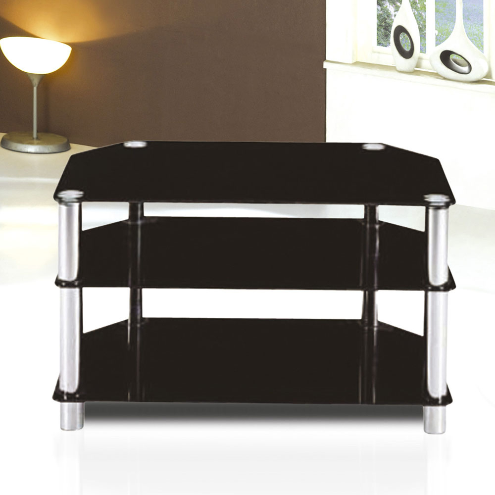 Glass Tv Table Stand 7 Star 80cm Black Gltv Unit Next Day Delivery Throughout Newest Black Glass Tv Cabinets (View 2 of 20)