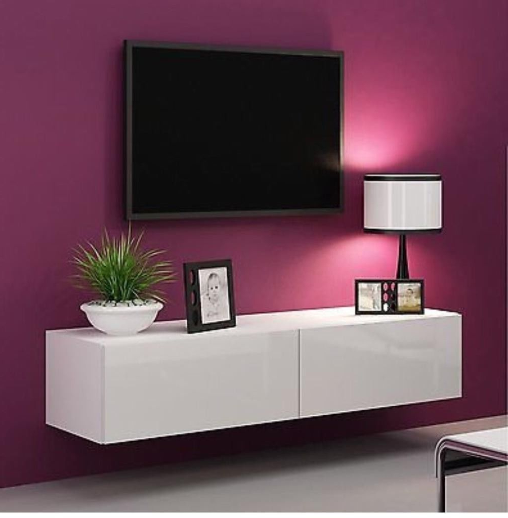 Gloss Tv Stands Throughout Famous High Gloss Tv Stand Cabinet Led Light Choice Floating Wall Unit (View 9 of 20)