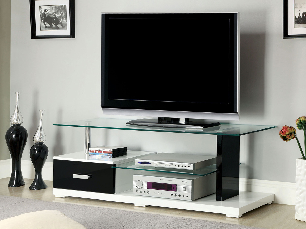 Gloss White Tv Stands Intended For Most Popular Black & White High Gloss Finish Tv Stand • Caravana Furniture (Gallery 10 of 20)