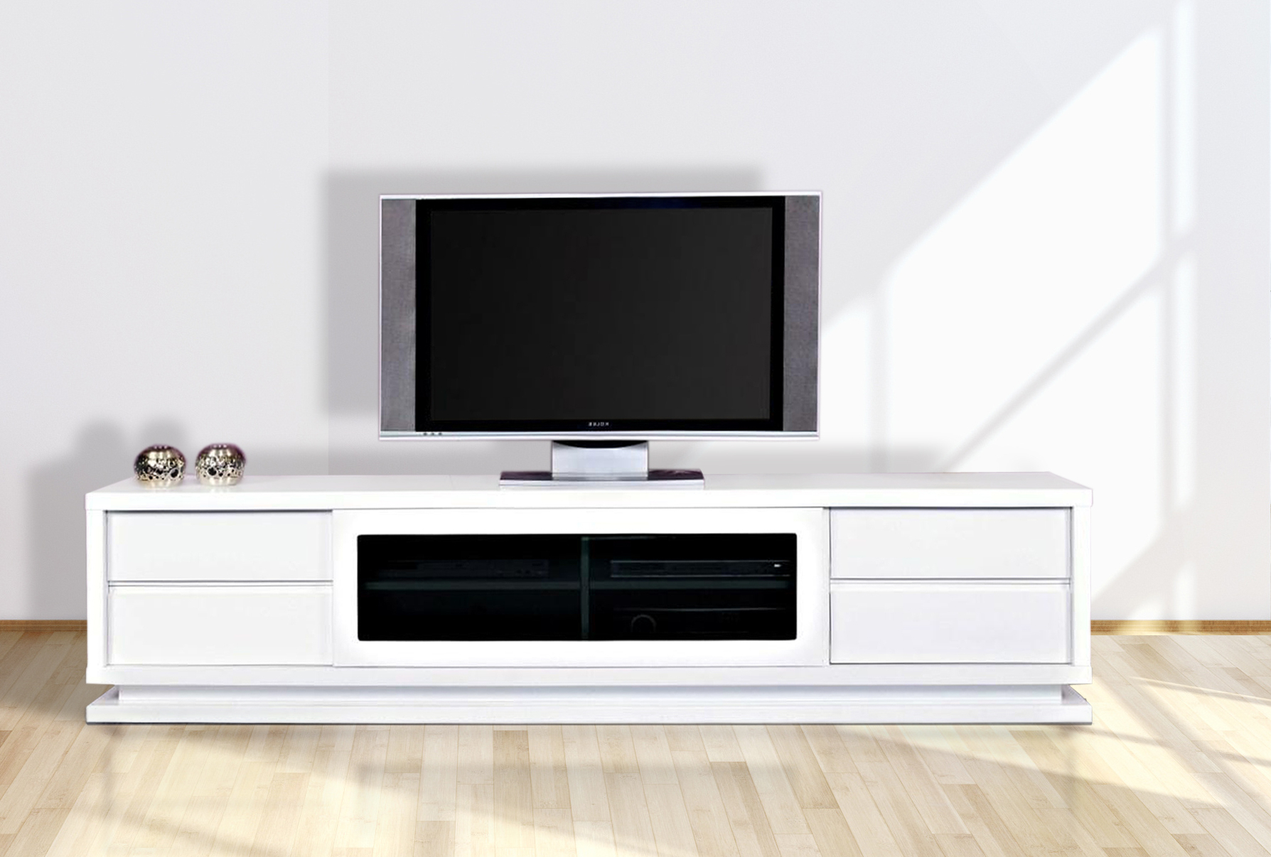 Gloss White Tv Unit 2.4M, The Preston – First In Furniture With Regard To Well Known Gloss White Tv Cabinets (Gallery 16 of 20)