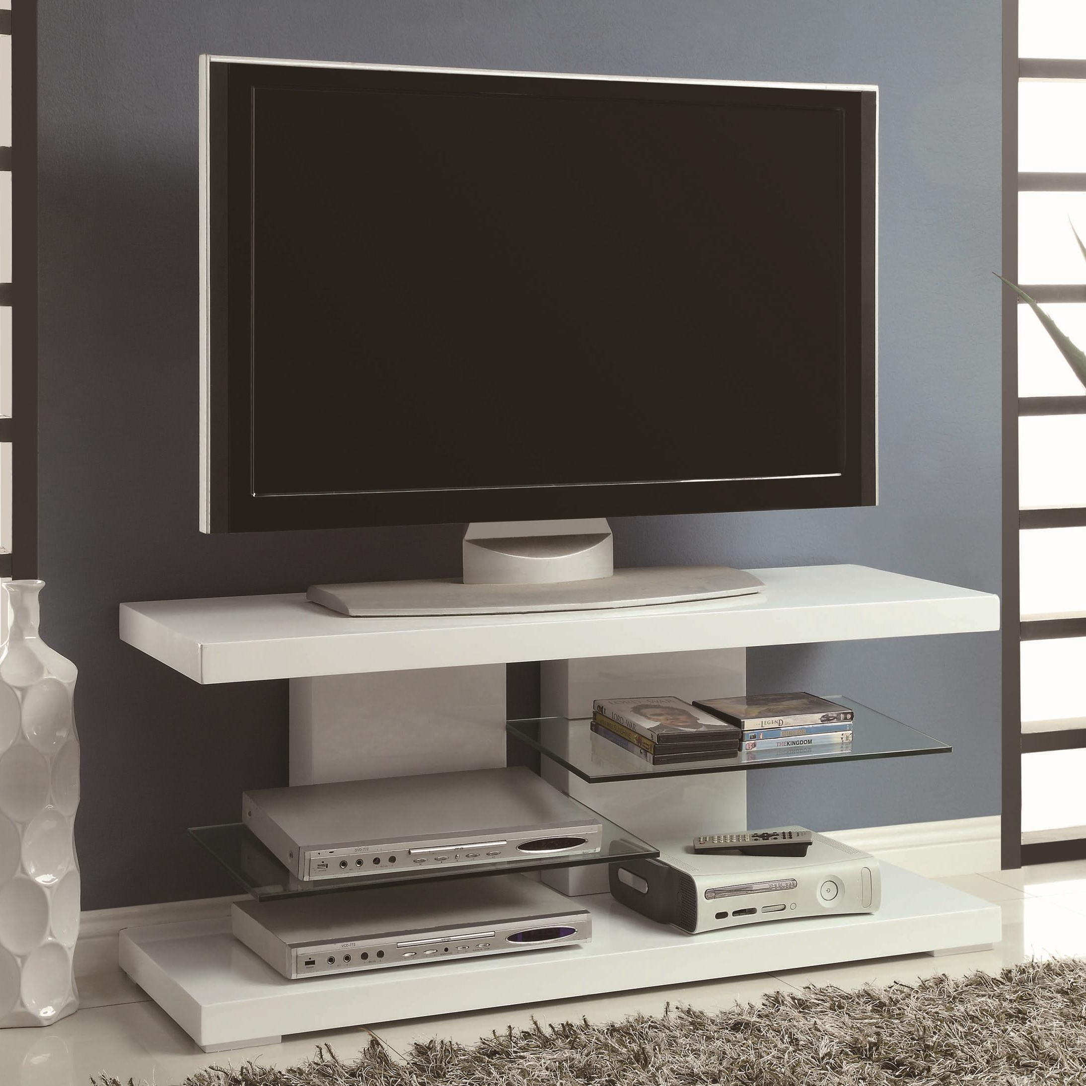 Glossy White Tv Stands With Regard To Fashionable Tv Stands Modern Tv Stand With Alternating Glass Shelves (View 6 of 20)