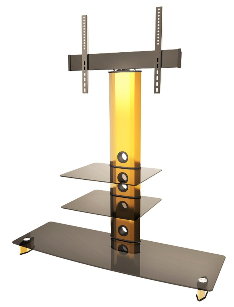 Goldine Gold Black Glass Tv Stand With Bracket Regarding Most Popular Cheap Cantilever Tv Stands (View 11 of 20)