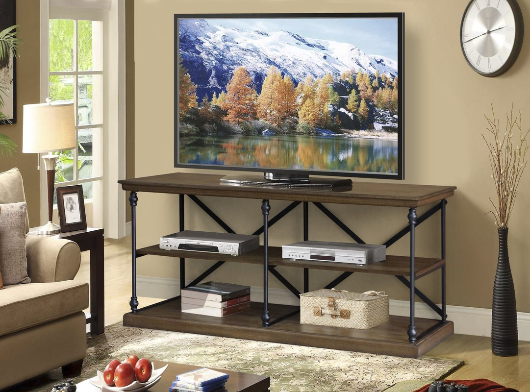 "Gracie Oaks Marvale Media Cornice Console Bookshelf 60"" Tv Stand With Newest Tv Stands And Bookshelf (View 13 of 20)"