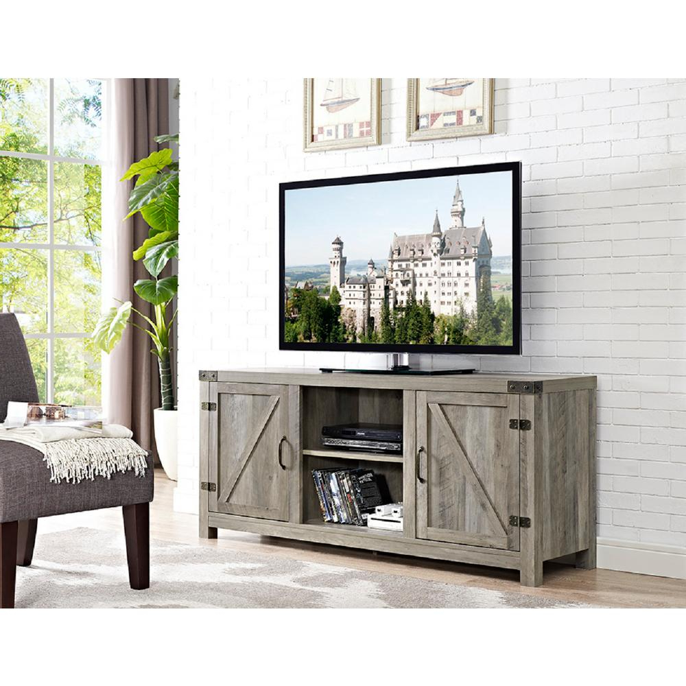 Gray – Tv Stands – Living Room Furniture – The Home Depot Intended For Trendy Abbott Driftwood 60 Inch Tv Stands (View 14 of 20)