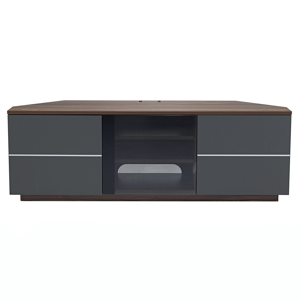 Grey Corner Tv Stands For Best And Newest Uk Cf – Milan Corner Tv Stand In Walnut And Grey (View 6 of 20)