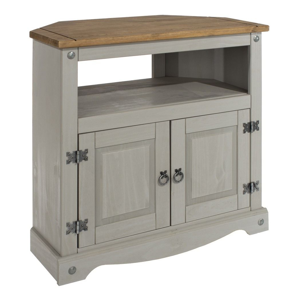 Grey Corner Tv Stands Throughout Well Known Core Products Corona Grey Washed Corner Tv Unit – This Well Made Tv (View 9 of 20)
