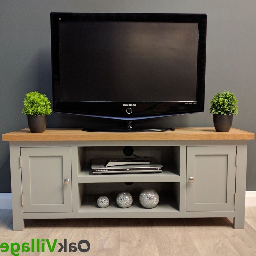 Grey Painted Large Plasma Oak Tv Unit / Solid Wood / Grey Tv Stand Intended For Best And Newest Grey Tv Stands (View 7 of 20)