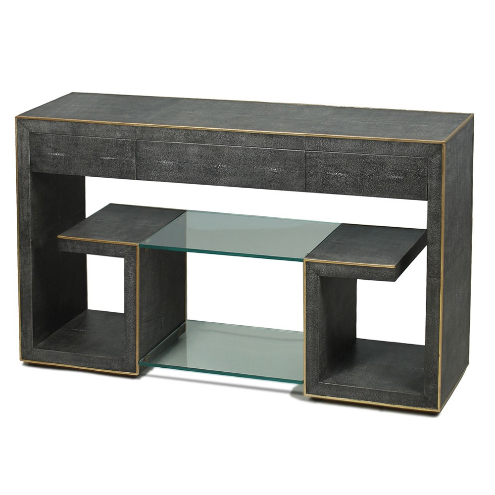 Grey Shagreen Media Console Tables In Trendy Grey Shagreen Greek Key Console – Gold Trim (View 3 of 20)