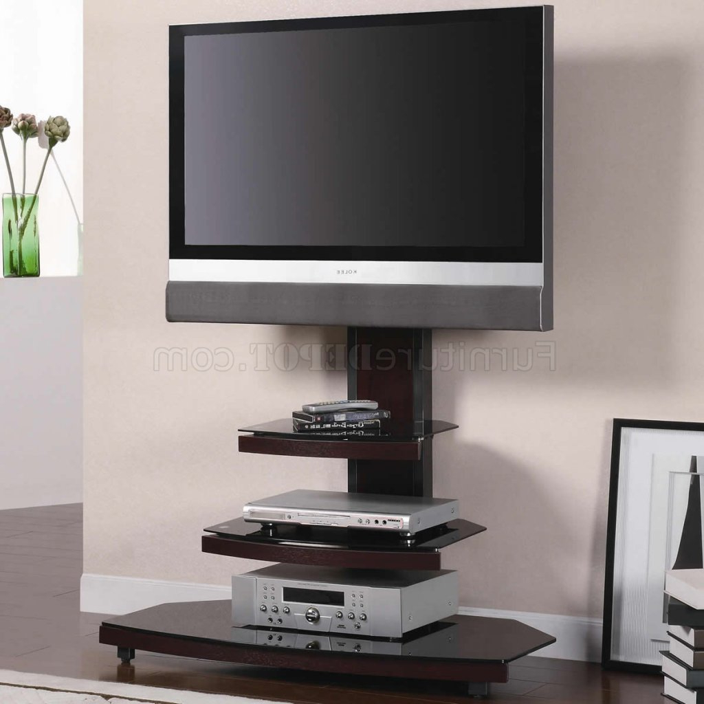 Gun Metal With Wood & Tempered Black Glass Modern Tv Stand Pertaining To Famous Wood And Metal Tv Stands (View 3 of 20)