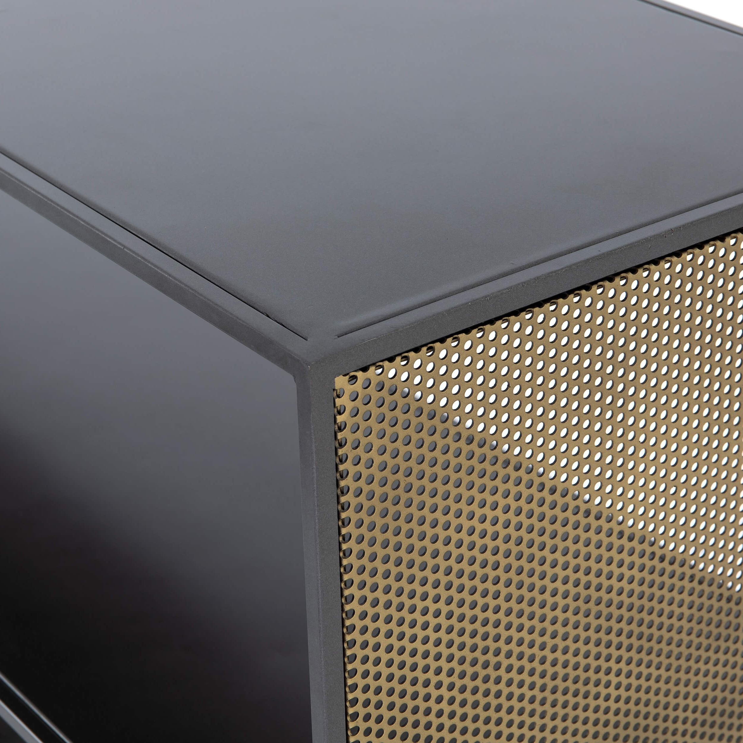 Gunmetal Perforated Brass Media Console Tables With Regard To Preferred Zadie Media Console – Media – Storage – Furniture (View 20 of 20)